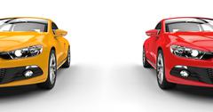Modern Cars Side By Side - Front View - stock illustration