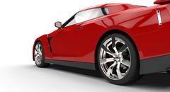 Red Sports Car back side view - stock illustration