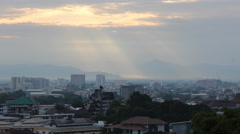 Stock Video Footage of Chiang Mai in the morning sunlight through clouds ambush, Thailand.