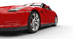 Red Sports Car Extreme Closeup - stock illustration