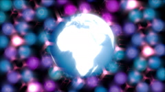 shining earth globe and blurred glowing motion particles animation background - stock footage