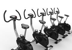 Row Of Stationary Bikes Stock Illustration