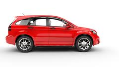 Red SUV - Side View Stock Illustration