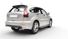 Silver SUV- Back View - stock illustration