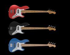 Electric Bass Guitars Set Stock Illustration