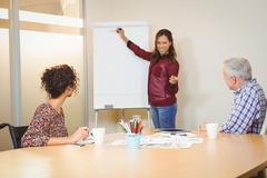 Businesswoman discussing over board in meeting - stock photo