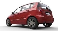 Modern Compact Car Red - Rear View Stock Illustration