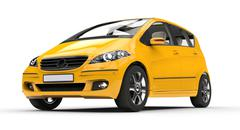 Yellow Compact Car - stock illustration