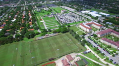 Aerial video Barry University sports fields 2 Stock Footage