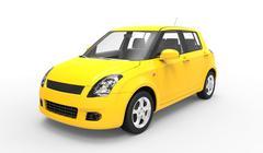 Modern Compact Car Yellow - stock illustration