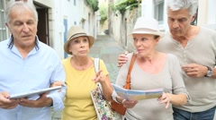 Group of senior people traveling in Europe Stock Footage
