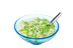 Noodles made of rice eaten with coconut cream - stock photo