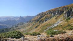 Picturesque panorama of Bulgaria nature park Rila on the way to lakes Stock Footage