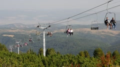 Chairlift in the national natural park in Bulgaria - the Rila Stock Footage