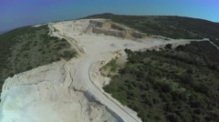 Calcium carbonate quarry, aerial shot - stock footage