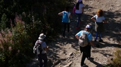 Stock Video Footage of Hiking in mountains a group tourists moves along a dirt road, to Rila Lakes