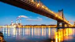 Timelapse with Queensboro Bridge transitioning from sunset to night Stock Footage