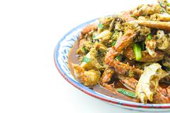 Crab fried with thai chilli paste - stock photo