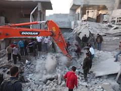 Bombing Aftermath War in Syria Stock Footage