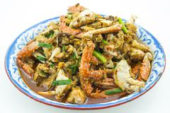 Crab fried with thai chilli paste Stock Photos