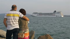 man and woman holding each monitor passenger ship in the sea - stock footage