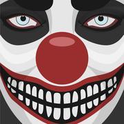 Evil Clown smiling Face - stock illustration