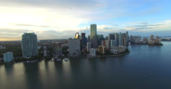 Aerial Brickell Miami at dusk 10 Stock Footage