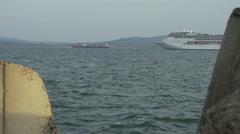 large passenger ship sail along the bay-timelapse - stock footage