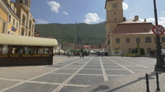 Council Square, a beautiful place located in the Old Town of Brasov Stock Footage