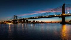 Manhattan Bridge sunrise timelapse Stock Footage