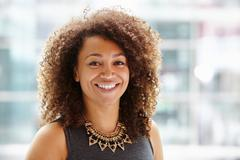 African American businesswoman, head and shoulders portrait - stock photo