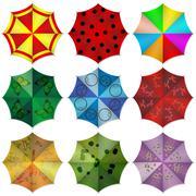 Stock Illustration of Multi colored beach umbrellas. Vector illustration.