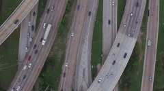 Aerial view over major freeway in Houston, Tx Stock Footage