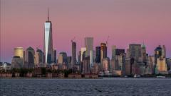Lower Manhattan sunset Stock Footage