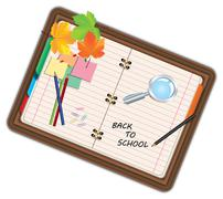 Image of notebook, pocketbook, diary with sign back to school and school supp Stock Illustration