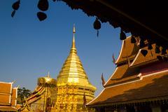 Golden pagoda wat Phra That Doi Suthep Stock Photos
