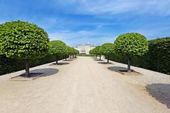 View from park to the Rundale palace Stock Photos