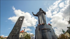 Timelapse Fast moving clouds over the Taras Shevchenko monument in Lviv, Ukraine Stock Footage