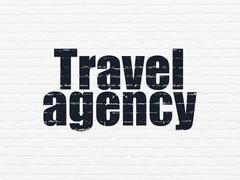 Stock Illustration of Tourism concept: Travel Agency on wall background