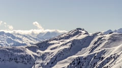 Winter snowy mountains panorama. Untouched nature and clean environment. Stock Footage