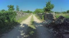 Stone walls in Dalmatian hinterland, aerial shot Stock Footage