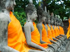 Buddha statue in Wat Yai Chai Mongkol Stock Photos