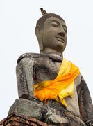 Old Buddha statue at Wat Chai Watthanaram - stock photo