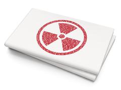 Science concept: Radiation on Blank Newspaper background Stock Illustration