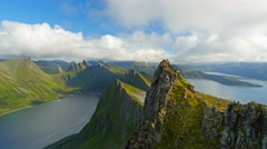 Senja island, Norway. Landscape with mountains, fjord and clouds. Time lapse. Stock Footage