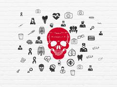 Medicine concept: Scull on wall background - stock illustration