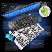 Stock market graph on computer screen and mobile phone with newspaper - stock illustration