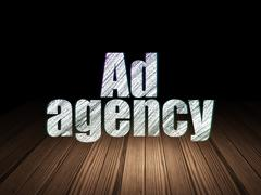 Stock Illustration of Marketing concept: Ad Agency in grunge dark room