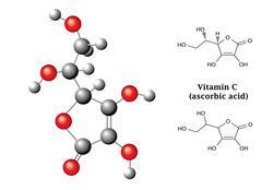 Model and  chemical formulas and  of ascorbic acid (vitamin C, E300) Stock Illustration