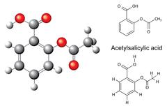 Chemical formulas and model of acetylsalicylic acid - stock illustration